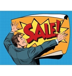Retro man unfolds a poster sale vector