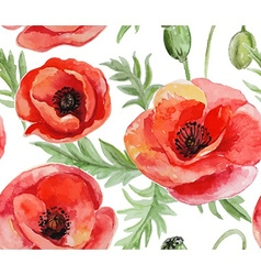 Seamless background with red watercolor poppies on vector