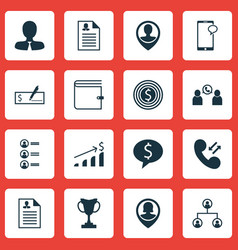 Set of 16 management icons includes tournament vector