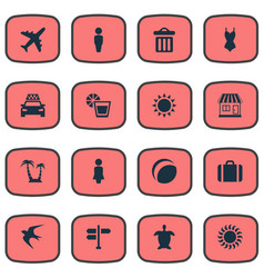 Set of simple beach icons vector