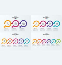 set of timeline infographic templates with vector image vector image