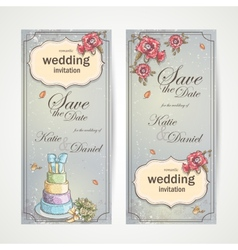 Set of vertical banners wedding invitations with vector