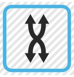 Shuffle arrows vertical icon in a frame vector