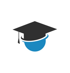 sign of study human on graduate hat isolated logo vector image