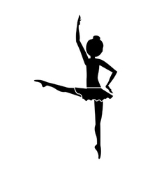 Silhouette dancer fourth position developed vector