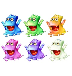 Six colorful monsters vector