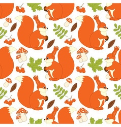 Squirrel seamless pattern vector