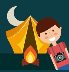 Tent camping design vector