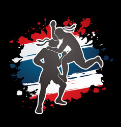 Thai boxing action muay thai graphic vector