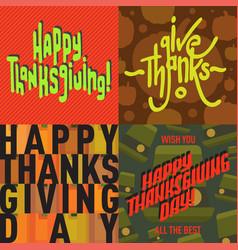 thanksgiving decoration lettering postcard vector image