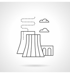 Thermal power station flat line icon vector