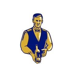Waiter Presenting Wine Bottle Woodcut vector image vector image