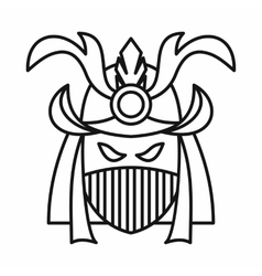 Japanese samurai mask icon outline style vector