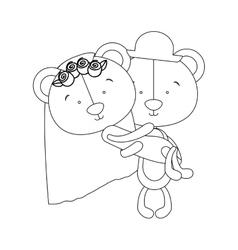 teddy bear couple groom and bride icon image vector image