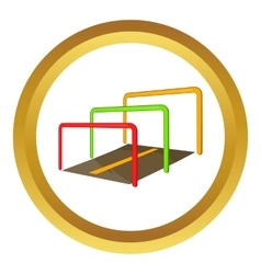 Running with obstacles icon vector