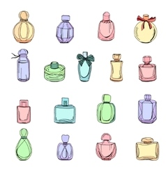 Set with bottles of woman perfume isolated on vector