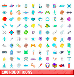 100 robot icons set cartoon style vector
