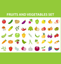 fresh fruit and vegetable icon set flat cartoon vector image