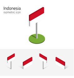 Republic of indonesia flag set of 3d isometric vector