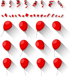 Set of flat celebration balloons vector