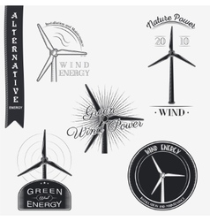Wind turbine alternative eco energy set of vector
