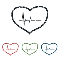 Cardiology grunge icon set vector