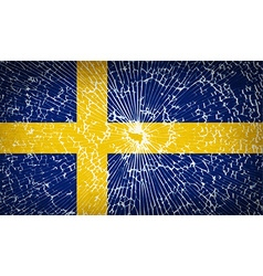 Flags sweden with broken glass texture vector