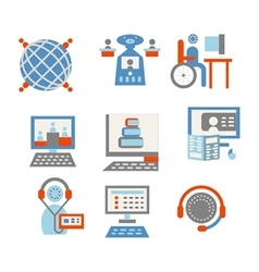 Colored icons for internet education vector