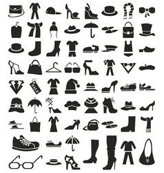 Clothing and footwear icons on white vector