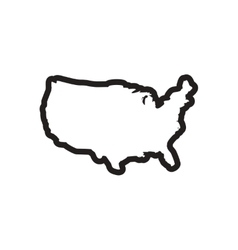 Stylish black and white icon map of usa vector