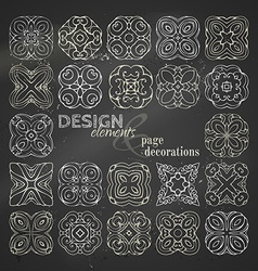 Set of chalk square geometric ornaments vector