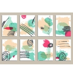 Set of universal cards hand drawn textures vector
