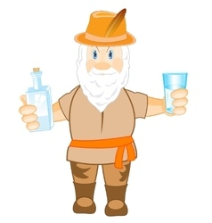 Man with bottle and glass vector