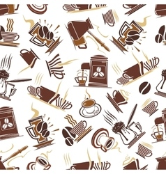Brown seamless pattern of coffee drinks vector