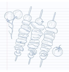 Shish kebabs on skewers vector