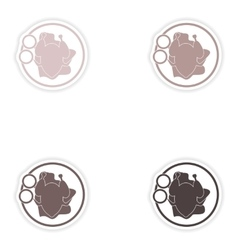 Set of paper stickers on white background chicken vector