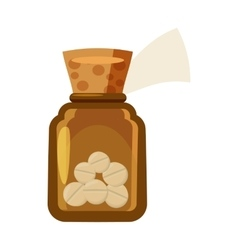 Glass bottle of tablets icon cartoon style vector