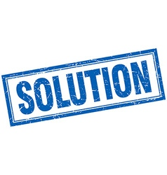 Solution blue grunge square stamp on white vector