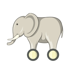 Toy elephant on wheels icon cartoon style vector