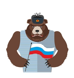 Angry russian bear holding russian flag beast vector
