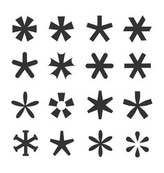 asterisk icon set vector image