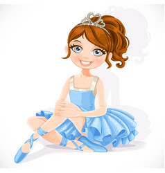 Beautiful ballerina girl in blue dress and tiara vector