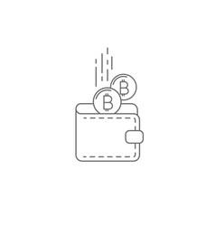 Bitcoin wallet concept icon vector