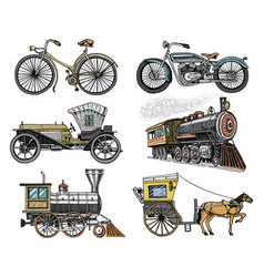 car motorbike horse-drawn carriage locomotive vector image