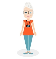 Cartoon character elderly woman a girl aged vector
