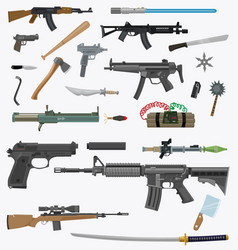 cartoon weapons pack 1 vector image