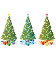christmas tree and gifts vector image vector image