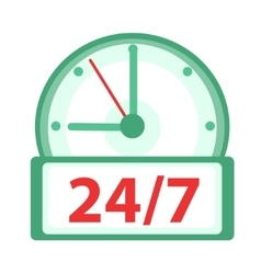 Clock icon flat design watches 24h 7 days a vector