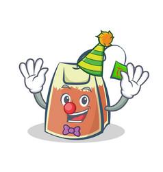 Clown tea bag character cartoon art vector