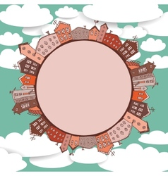 Collection of houses vintage on sky background vector image vector image